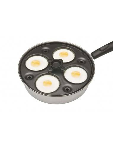 Kitchen Craft Aluminium Coated Carbon Steel Four Hole Egg Poacher