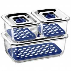 WMF Top Serve Storage and Serving Containers with Drainage Grille Set of 3 - Mimocook