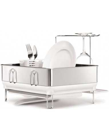 Simplehuman Compact Steel Frame Dishrack with Wine Glass Holder