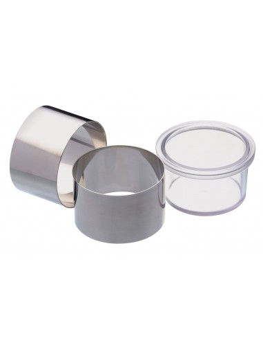Kitchen Craft Master Class Set of Two Stainless Steel Cooking Rings with Pusher