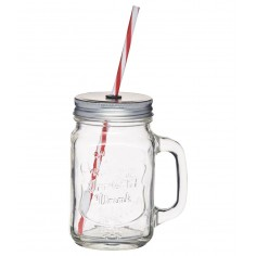 Kitchen Craft Home Made Traditional Glass Drinks Jar with Straw