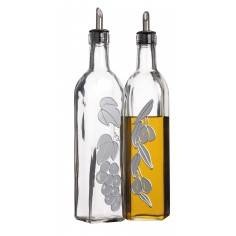 Kitchen Craft World of Flavours Italian Set of 2 Glass Oil and Vinegar Bottles