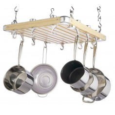 Kitchen Craft Master Class Deluxe Ceiling Mounted Wooden Pot Rack