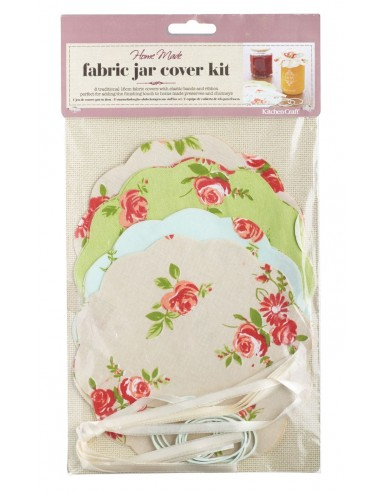 Kitchen Craft Home Made Pack of 8 Floral Patterned Fabric Jam Cover Kits