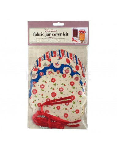 Kitchen Craft Home Made Pack of 8 Patterned Fabric Jam Cover Kits