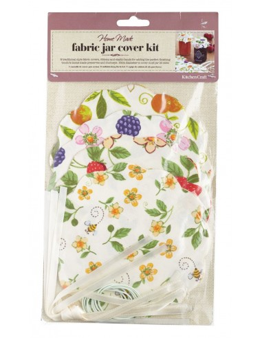 Kitchen Craft Home Made Pack of 8 Fruit Patterned Fabric Jam Cover Kits