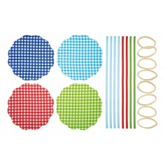 Kitchen Craft Home Made Pack of 8 Gingham Patterned Fabric Jam Cover Kits