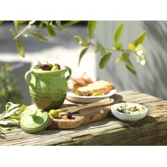 Le Creuset Stoneware Olive Jar and Fork Green
