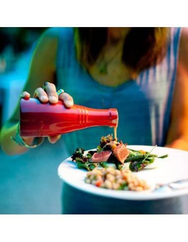 Le Creuset Stoneware Oil and Vinegar Bottle Set - Cerise