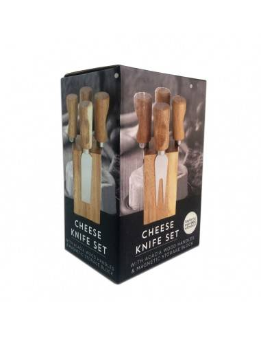 Taylors Eye Witness Cheese Knife Set with Acacia Beech Wood Handles & Storage Block - Mimocook
