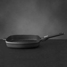 BergHOFF Gem Square Non-Stick Grill Pan with Removable Handle 28cm