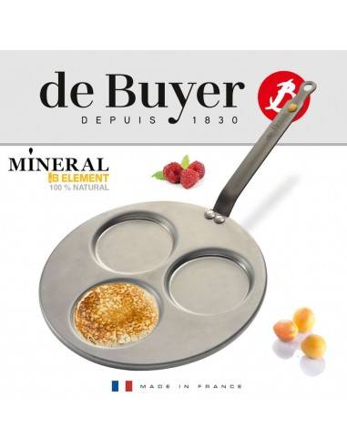 De Buyer Mineral B Element triple-blini pan - Mimocook