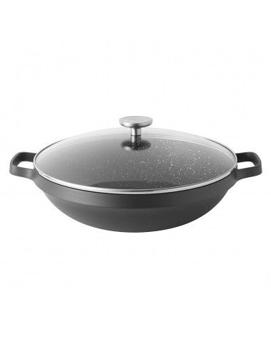 BergHOFF Gem Non-Stick Ceramic Coated Wok with Glass Lid, 32cm
