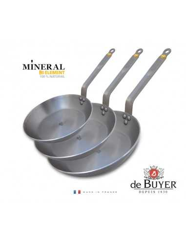 Set of 3 De Buyer Mineral B Element Round Frying Pan - 20+24+28cm