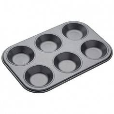 Kitchen Craft Master Class MasterClass 6 Hole Non-Stick Shallow Baking Tray - Mimocook