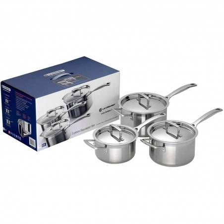 Le Creuset Stainless Steel Saucepan Set - 3 pieces - Mimocook