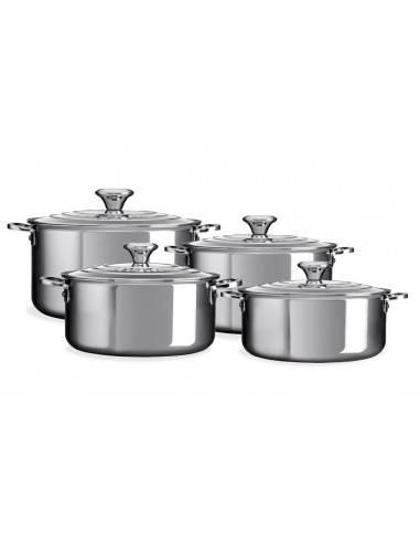 Le Creuset 3-Ply Plus Stainless Steel Saucepan Set 4 Pieces
