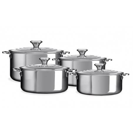 Le Creuset 3-Ply Plus Stainless Steel Saucepan Set 4 Pieces - Mimocook