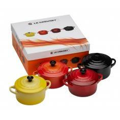 Le Creuset Set of 4 Mini Casserole Dishes red and yellow Ceramic - Mimocook