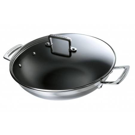 Le Creuset 3 Ply Stainless Steel Non-Stick Wok with Glass Lid 30 cm - Mimocook