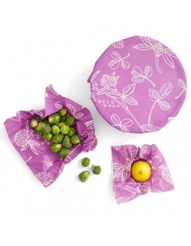 Bees Wrap Set of 3 Assorted Size Wraps purple