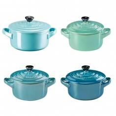 Le Creuset Set of 4 stoneware mini cocottes metallics sea