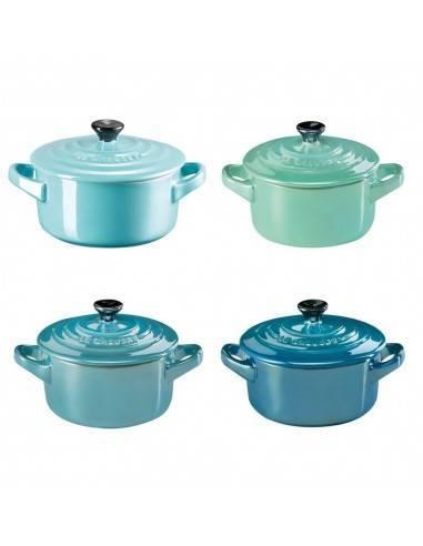 Le Creuset Set of 4 stoneware mini cocottes metallics sea - Mimocook