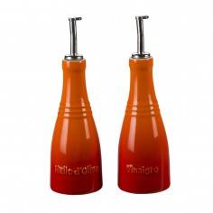 Le Creuset Stoneware Oil and Vinegar Bottle Set - Cerise - Mimocook