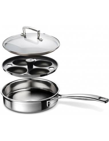 Le Creuset 3-ply Stainless Steel Uncoated Sauté Pan with Poaching Insert - Mimocook
