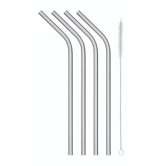 KitchenCraft Pack of Four Stainless Steel Reusable Drinks Straws - Mimocook