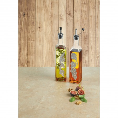 Kitchen Craft World of Flavours Italian Set of 2 Glass Oil and Vinegar Bottles - Mimocook